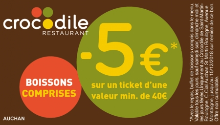Coupon Crocodile Saint-Martin Boulogne