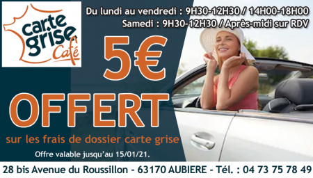 Coupon Carte Grise Café