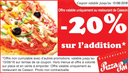 promo brasserie bistrot cha ne pizza pai cesson. Black Bedroom Furniture Sets. Home Design Ideas